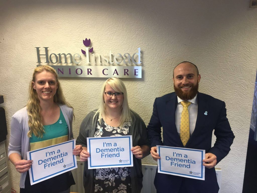 Home Instead Senior Care employees and another from McCoubrey Cooke are now Dementia Friends!