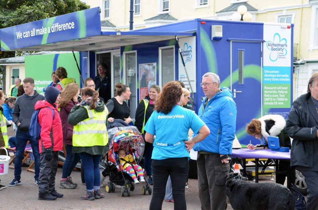 Spreading the knowledge on dementia at the end of Llandudno Memory Walk, Sunday September 10th 2017