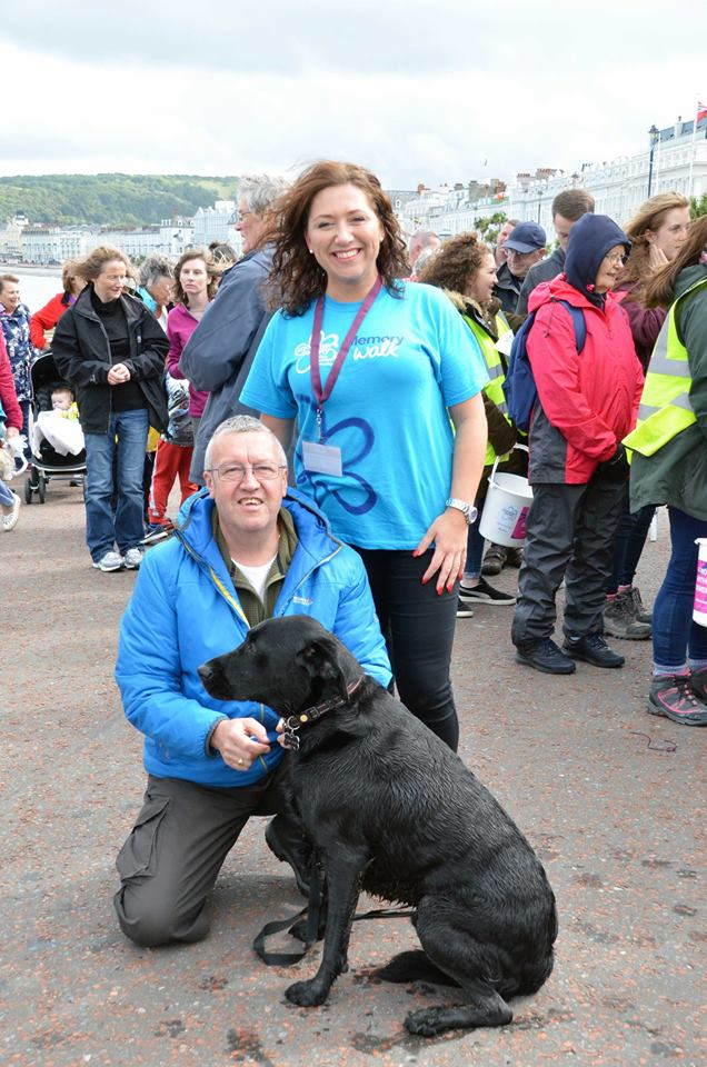 Our own Lucie and Alan catching up at the end of the Memory Walk. Looks like their little friend enjoyed it too!