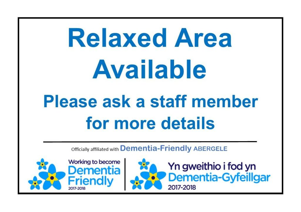 A Cut Above Barbers now has a 'Relaxed Area'. Keep an eye out for this sign!