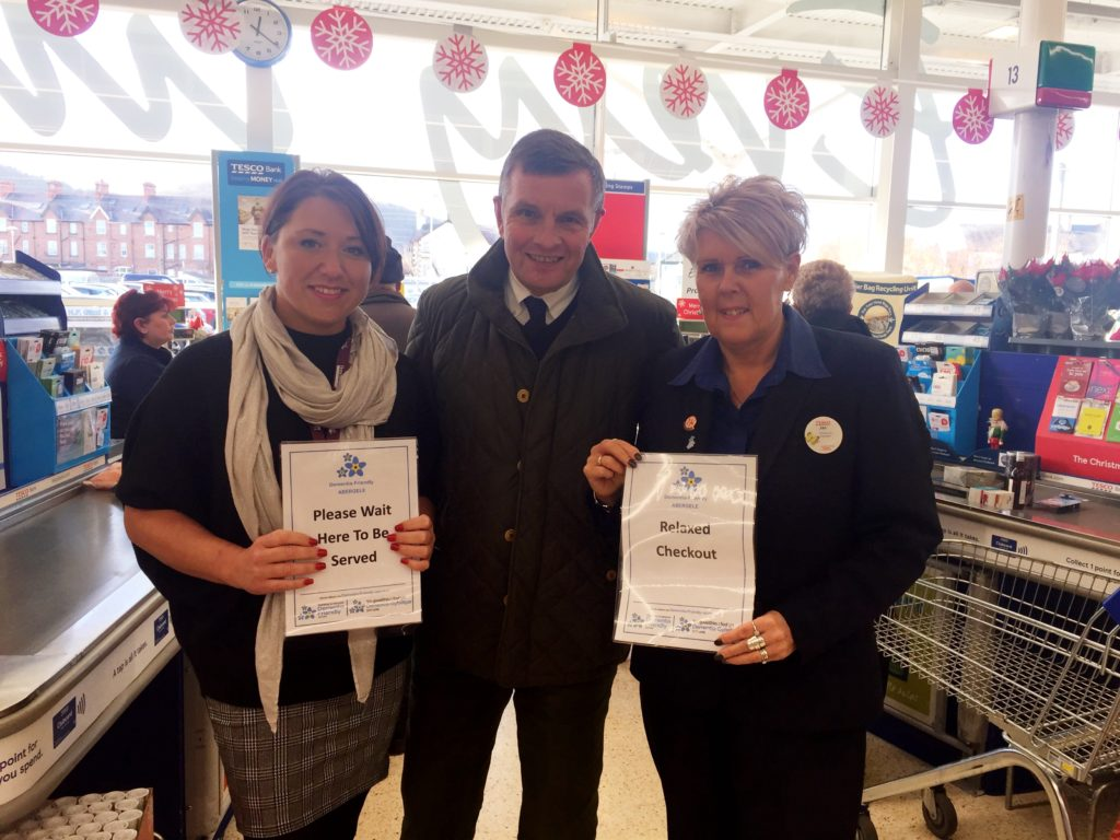 Lucie, David Jones (MP) and Jan (Tesco Abergele Community Champion) finding out all about the 'Relaxed Lane' at Tesco Abergele