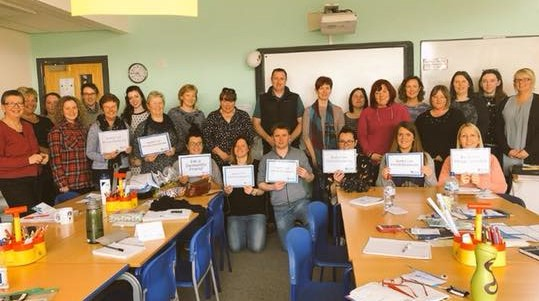 Teachers from Ysgol Glan Morfa becoming Dementia Friends during their training day